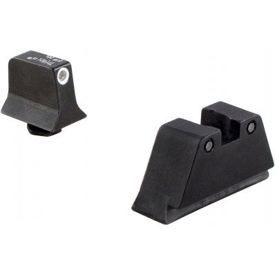 Trijicon Bright & Tough Night Sight Suppressor Night Sight Set for Glock - White Front/Black Rear with Green Lamps