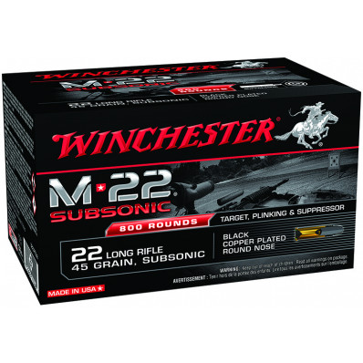Winchester M-22 Subsonic Rimfire Rifle Ammunition .22 LR 45 gr 1080 fps Black-Plated RN 800 rds
