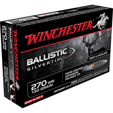 Winchester Ballistic Silvertip Rifle Ammunition .270 Win 130 gr BST 3050 fps - 20/box