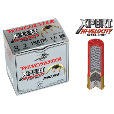 "Winchester Xpert High-Velocity Steel 12 ga 3""  1 1/8 oz #BB 1550 fps - 25/box"