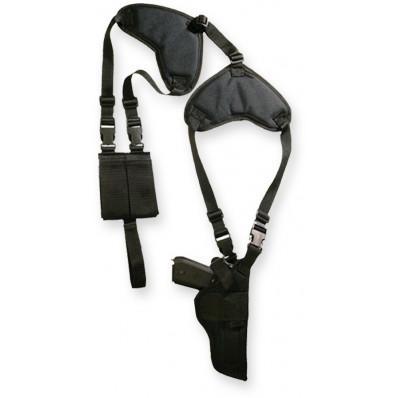 Bulldog Deluxe shoulder harness w/vertical holster & pouch Fit large frame auto w/3.5-5 in barrel