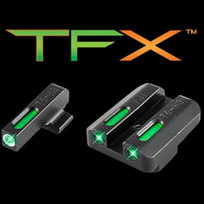 Truglo TFX BriteSite Handgun Night Sight Fits FNH FNP-40 FNX-40 FNS-40 (Including Compact) - White Outline Front/Rear Green