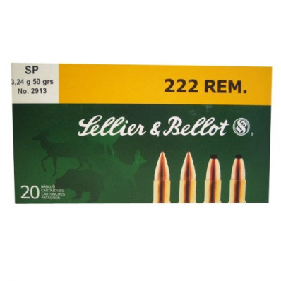 Sellier & Bellot Rifle Ammunition .222 Rem 50 gr SP  - 20/box