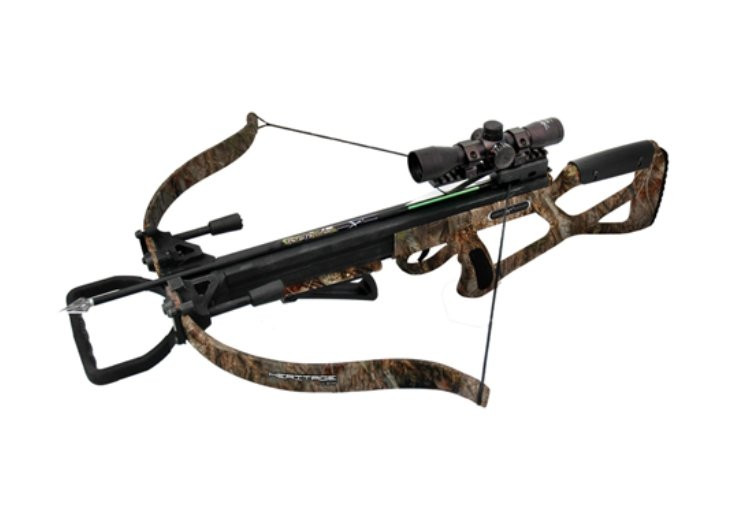 Carbon Express Heritage Recurve Crossbow Package w Deluxe Red/Green/Blue  Illuminated 4x32 Multi-Reticle Scope - Camo