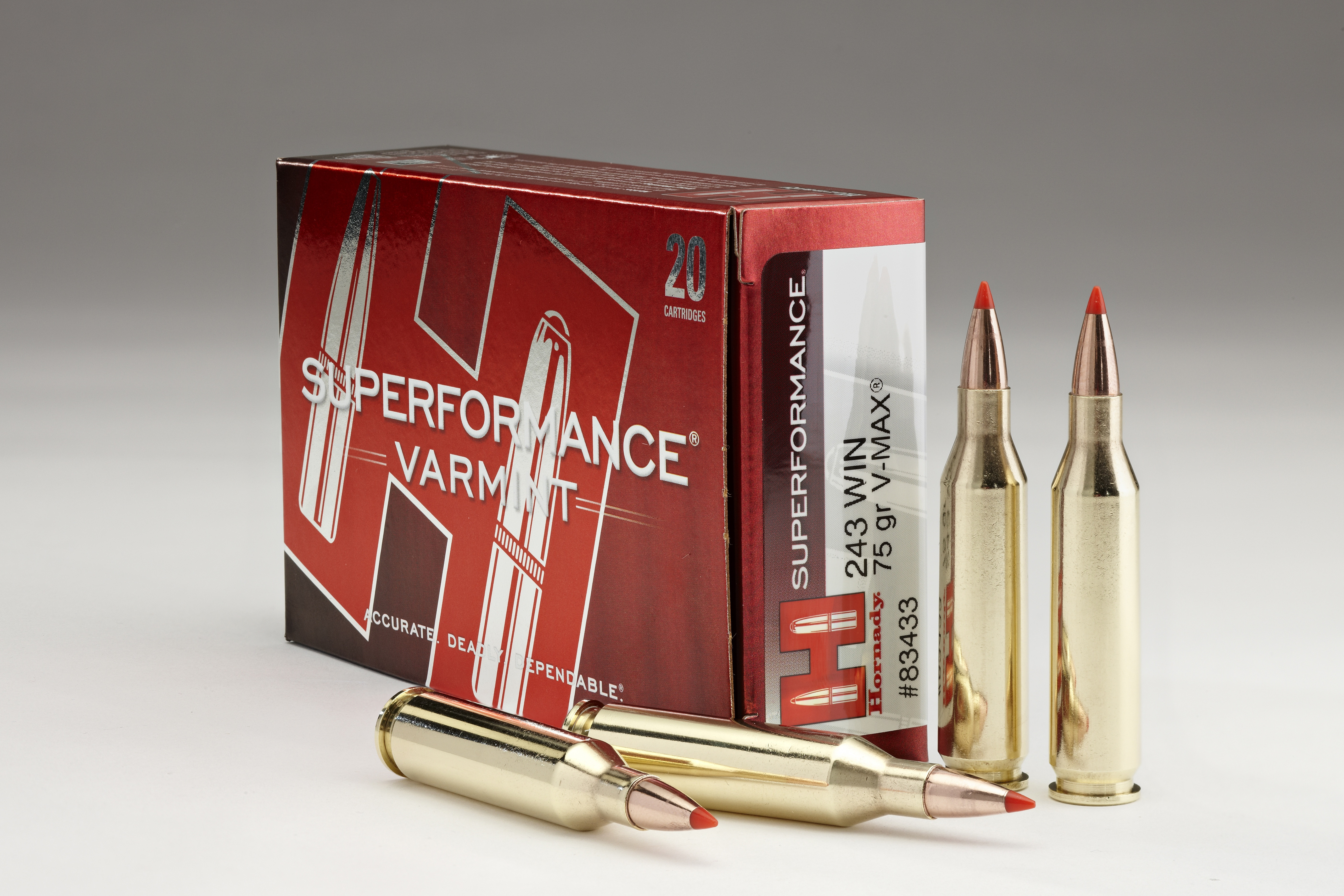 Hornady Superformance Varmint Rifle  243 Win 75 gr VMAX 3580 fps 20/box