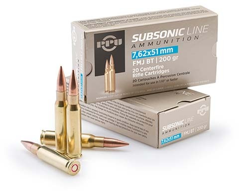 ppu subsonic rifle ammunition 7 62x51mm 200 gr fmjbt 1050 fps 20 ct natchez ppu subsonic rifle ammunition 7 62x51mm 200 gr fmjbt 1050 fps 20 ct