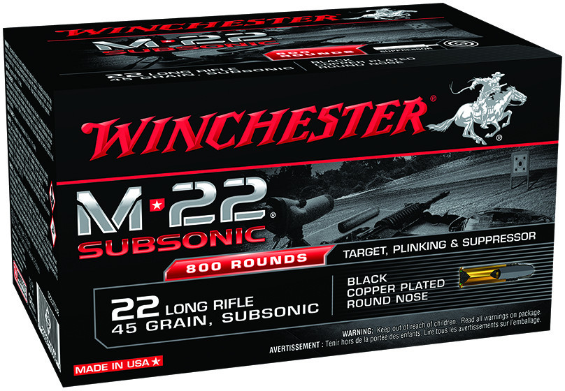 Winchester M-22 Subsonic Rimfire Rifle Ammunition  22 LR 45 gr 1080 fps  Black-Plated RN 800 rds