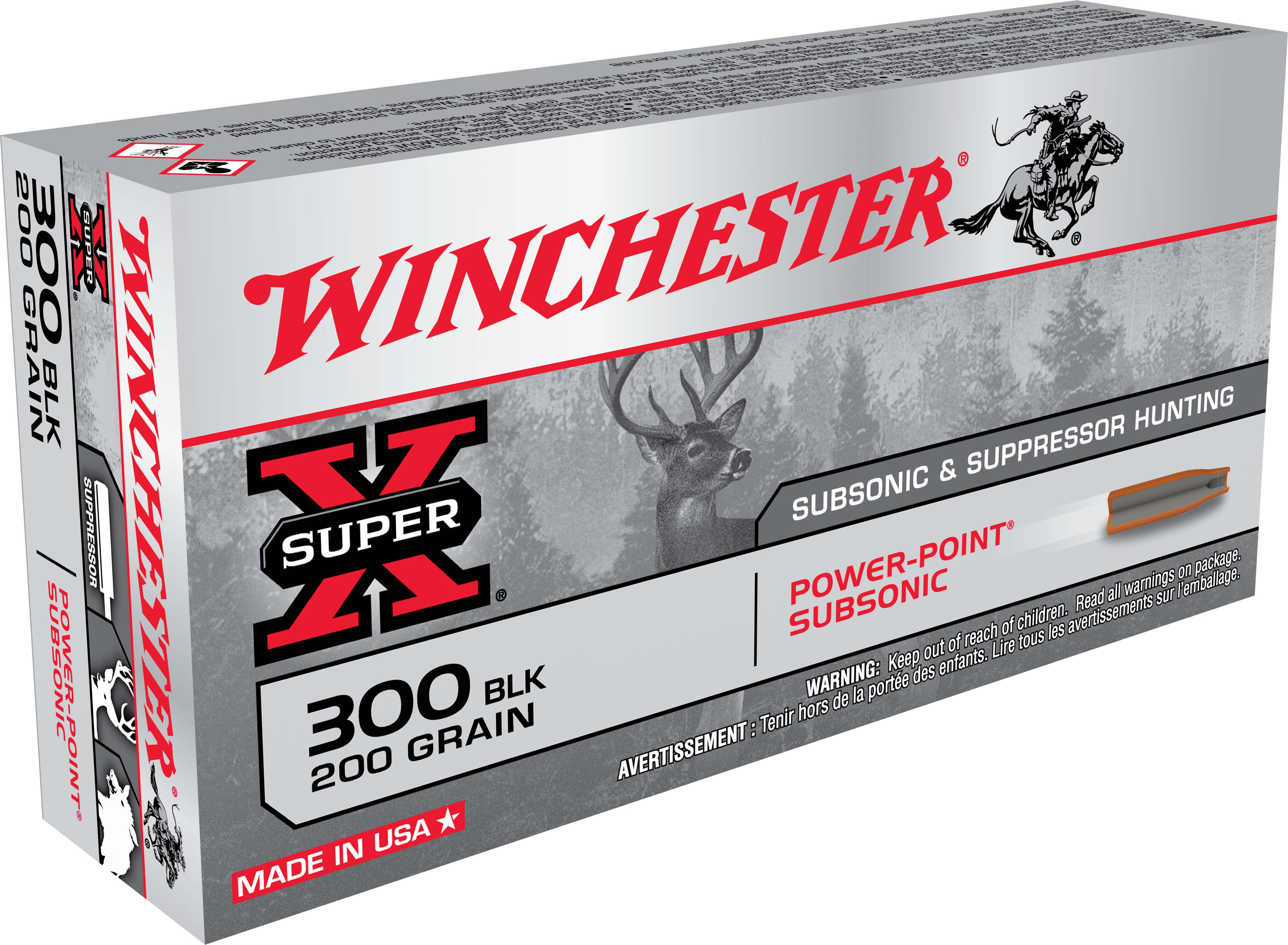 Winchester Super-X Subsonic Rifle Ammunition  300 AAC Blackout 200 gr HP  1060 fps 20/ct
