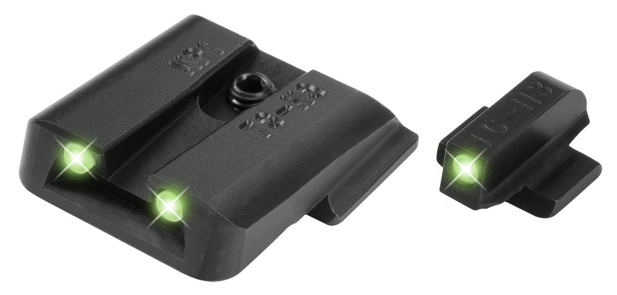 Truglo Tritium Pro Night Sights Fit S&W Bodyguard  380 - White Outline  Front/Green Rear