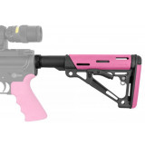 Hogue AR-15/M-16 OM Collapsible Buttstock Assembly with Buffer Tube and Hardware - Pink Rubber