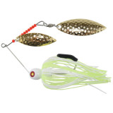 """Tim Poe Thunder Lures Double Blade Spinnerbait 1/4 oz 3-1/2"""" - Willow Gold/Chartreuse & White"""