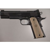 Hogue Colt Government Grips .45, 1911 Rubber Grips Panels, Checkered with Diamonds  - Desert Tan