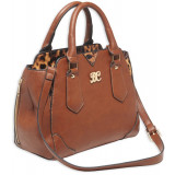 Bulldog Satchel Style Conceal Carry Purse W/ Holster - Chestnut W/ Leopard Trim