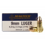 MagTech Centerfire Handgun Ammunition 9mm Luger 124 gr FMJ 1109 fps 50/box