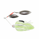 """Tim Poe Thunder Lures Double Blade Spinnerbait 1/4 oz 3-1/2"""" - Chartreuse & White"""