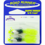 Road Runner Crappie Thunder Jig Panfish Lure 1/16 oz 2pk - Chartreuse/Orange/Chartreuse Sparkle