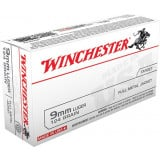 Winchester USA Centerfire Handgun Ammunition 9mm Luger 124 gr FMJ  50/box