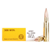 Sellier & Bellot Rifle Ammunition .308 Win 168 gr HPBT  - 20/box