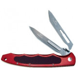 Havalon Piranta-Torch Game Knife with 12 Additional #60A SS Blades, Brick Red
