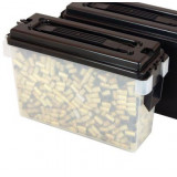 Berry's 30 cal Plastic Ammo Can, Clear with Black Cover