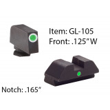 Ameriglo Tritium i-Dot Night Sight Set for Select Glocks - Front Tritium - Green / Front Outline - White / Rear Style - Green, Square Notch