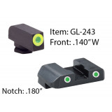 Ameriglo Pro Style Sight Set for Select Glocks / Front Tritium - Green / Front Outline - LumiGreen / Rear Tritium - Yellow / Real Outline - White