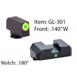 Ameriglo Tritium i-Dot Night Sight Set for Select Glocks / Front Outline Color - LumiGreen / Rear Metal Style - New