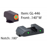 Ameriglo Spartan Operator Night Sight Set for Glock 17-39 / Front Tritium - Green / Front Outline - Orange / Rear Tritium - Green / Rear Outline - Black