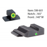 Ameriglo Tritium i-Dot Night Sight Set for Select S&W M&P Full or Compact / Front Tritium - Green / Front Outline - LumiGreen / Rear - Green, Round Notch