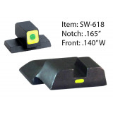 Ameriglo CAP Tritium Night Sights for S&W M&P Shield / Front Tritium - Green / Front Outline - LumiGreen / Style - CAP / Rear Paint Bar - LumiGreen