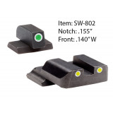 Ameriglo Classic Style Night Sight Set For S&W M&P / Front Tritium - Green / Front Outline - White / Rear Tritium - Green / Rear Outline - White