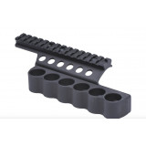 "Mesa Tactical Sureshell Aluminum Shotshell Carrier & 5-1/2"" Integrated Picatinny Rail Benelli SuperNova 6-shell 12 ga"
