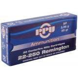 PPU Rifle Ammunition 22-250 Rem 55 gr SP 20/Box