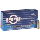 PPU Handgun Ammunition 9mm Luger 147 gr JHP 50/Box