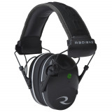 Radians Compact Dual Mic Electronic Earmuff with Stereo Input Jack & Patch Cable - 23 NRR