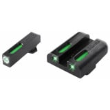 Truglo TFX Tritium/Fiber-Optic Day/Night Sights Fits GLOCK 17 / 17L, 19, 22, 23, 24, 26, 27, 33, 34, 35, 38, AND 39 - White Outline Front/Rear Green