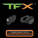 Truglo TFX Tritium/Fiber-Optic Day/Night Sight Set fits GLOCK 17 / 17L, 19, 22, 23, 24, 26, 27, 33, 34, 35, 38, and 39 (Suppressor Low) - White Outline Front/Green Rear