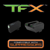 Truglo TFX Tritium/Fiber-Optic Day/Night Sight Set (Suppressor Height) fits Glock 20, 21, 25, 28, 29, 30, 31, 32, 37, 40, and 41 - White Outline Front/Green Rear