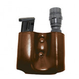 Tagua Magazine Flashlight Carrier Combo - Ambidextrous-Brown Fits Springfield XD, HK, and Glock .45 Cal Models