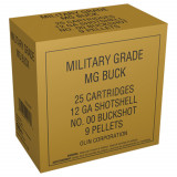 "Winchester Military Grade Shotshells 12 ga 2-3/4"" #00 Buck 9 pellets 25/Box"