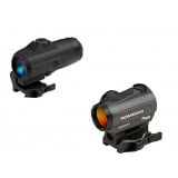 Sig Sauer ROMEO4H Red Dot Sight w/QR Mount & Juliet4 4x Magnifier - 1x20mm 2 MOA Ballistic Circle Dot Reticle Black