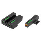 Truglo TFX Pro Tritium/Fiber-Optic Day/Night Sights Fit FNH FNP-9 FNX-9 FNS-9 FNS-9 Compact - Front Outline Orange/Rear Green