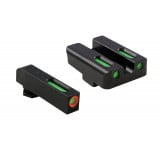 Truglo TFX Pro Tritium/Fiber-Optic Day/Night Sights Fit Glock 17, 17L, 19, 23, 24, 26, 27, 33, 34, 35, 38, 39 - Orange Outline Front/Rear Green