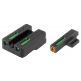 Truglo TFX Pro Tritium/Fiber-Optic Day/Night Sights Fit H&K VP9, VP40, P30, P30SK, P30L, 45, & 45 TACTICAL (Including Compact) - Orange Outline Front/Rear Green