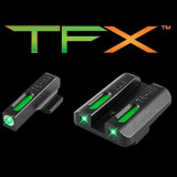 Truglo TFX Tritium/Fiber-Optic Day/Night Sights Fits KAHR Arms K, MK, P, PM, T &TP Models with New Dovetail (Post 2004) White Outline Front/Rear Green