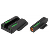 Truglo TFX Pro Next Gen Tritium & Fiber Optic Xtreme Handgun Sight - Ruger LC9|Ruger LC9s|Ruger LC380 - White Orange Front/Rear Green