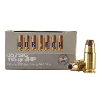 Corbon Self-Defense JHP Handgun Ammunition .357 SIG 115 gr JHP 1500 fps 20/box