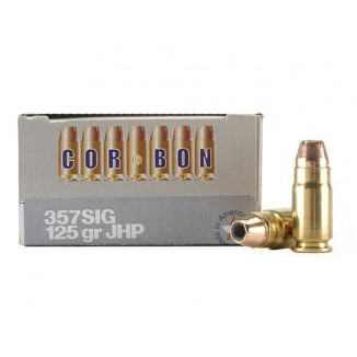 Corbon Self-Defense JHP Handgun Ammunition .357 SIG 125 gr JHP 1425 fps 20/box