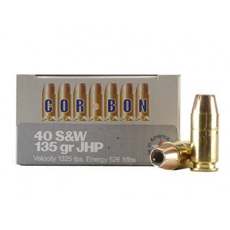 Corbon Self-Defense JHP Handgun Ammunition .40 S&W 135 gr JHP 1325 fps 20/box