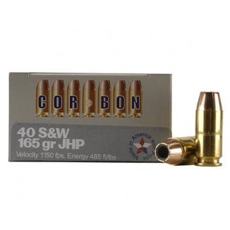 Corbon Self-Defense JHP Handgun Ammunition .40 S&W 165 gr JHP 1150 fps 20/box